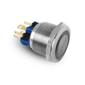 Przycisk 22mm nierdzewny LED IP65 230V lub 24V niebieski chwilowy