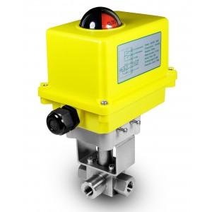 Elektrozawór kulowy 3 drogowy 500bar 1/4 cala ss304 siłownik A250