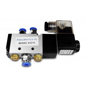 Elektrozawór siłowników 5/2 4V210 1/4 + złączki 6mm