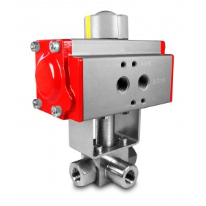 Zawór kulowy 3 drogowy wysokociśnien. napęd 3/8 cala HB23 ss304 ISO5211 AT52