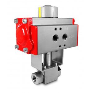 Zawór kulowy wysokociśnien. napęd 1/2 cala ss304 HB22 ISO5211 AT63